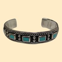 Traditional Southwest 925 Sterling Silver & Dyed Turquoise Cuff Bracelet