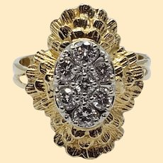 Fancy 1970s Cluster Diamond Ring ~0.50 Carat Total Weight