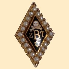 Zeta Beta Tau Fraternity Badge 10kt Yellow Gold Lapel Pin with Seed Pearls