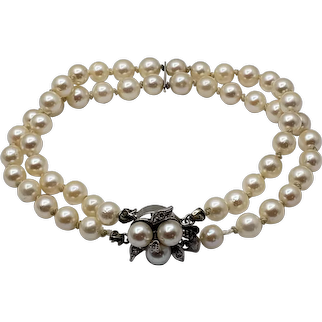Vintage Double Strand Akoya Cultured Pearl Bracelet with 14kt White Gold Clasp
