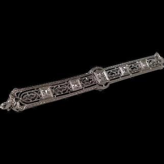 Vintage 14kt White Gold Filigree Diamond Bar Pin