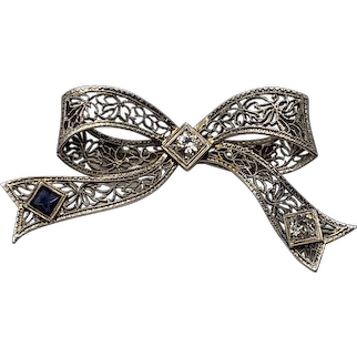 Vintage 14kt White Gold Sapphire and Diamond Bow-Shaped Pin