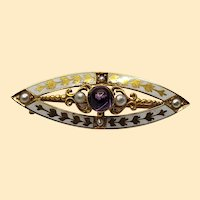Vintage 14kt Amethyst Pin with White Enamel and Gold Inlay