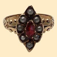 Vintage 10kt Rose Gold Ring with Marquise Antique Cut Garnet