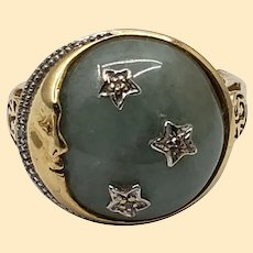 Vintage 14kt Gold Jadeite Cabochon Moon Ring with Embedded Diamonds