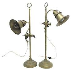 Pair of Vintage Brass Desk Lamps