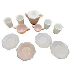 Pink Akro Agate Depression Glass Tea Set