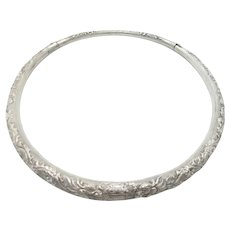 Vintage Chinese Ethnic Dragon Choker Silver Necklace