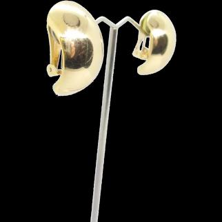 Vintage Christian Dior Earrings, Gold Tone Authentic Chr Dior Half Hoop Clip On Earrings