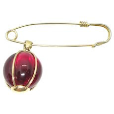 Rare Signed Daum France Red Crystal Pin Brooch and Pendant
