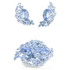 SHERMAN Brooch Set Signed Blue Rhinestones Swarovski Pin Brooch and Clip Earrings