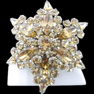 SHERMAN Signed Topaz Swarovski Rhinestones Star Pin Brooch