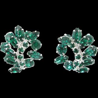 RARE Vintage Sherman Green Swarovski Crystal Clip On Earrings