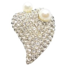 Marvella Faux Pearl Simulated  and Rhinestones Heart Pin Brooch