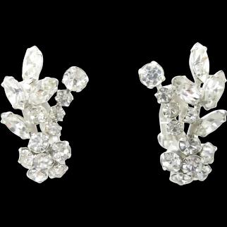 Vintage 1960's Sherman  Clip Earrings Swarovski Crystal