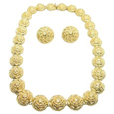 Vintage Designer  Nina Ricci Beautiful Unique Necklace with Clip Earrings