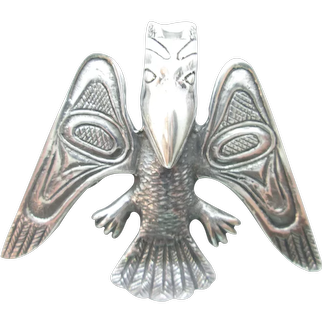 Boma Sterling Silver Native Style  Raven Bird Pin Brooch Signed