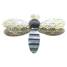 Rare Signed  Lea Stein Paris Vintage Bee Pin Brooch