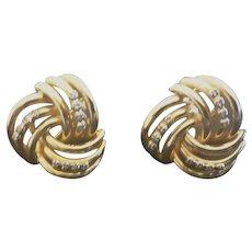14k Gold Earrings with 24 Diamonds