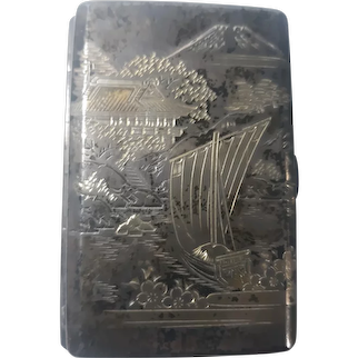 Antique Japanese 950 Sterling Silver Engraved  Double Sided cigarette case
