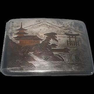 Japanese  950 Sterling Silver Cigarette case