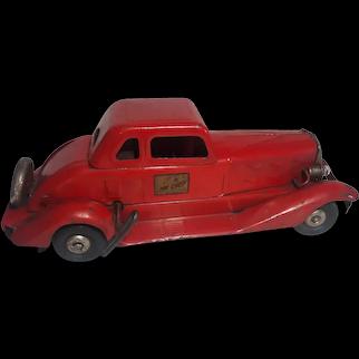 "Pre-War 1930's  HOGE Pressed Steel Vintage GIRARD Windup Fire Chief Car Large 14"""