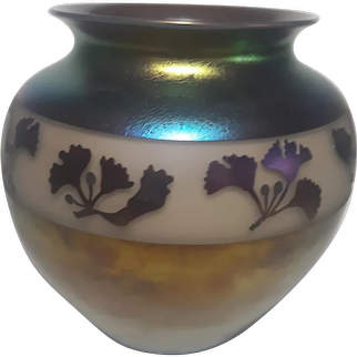 "Zellique Studio Signed J. Polito 2004 Iridescent  Art Glass Vase - 7.25"""