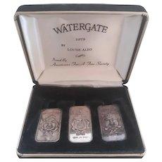 1973 Nixon Water Gate 999 Silver 3 Bars Set Speak Hear See No Evil Rare Vintage