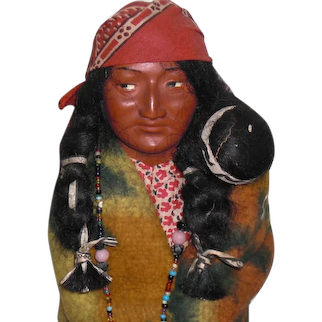 SKOOKUM Woman with Papoose: Mary McAboy ca. 1930's with Glass Bead Necklace