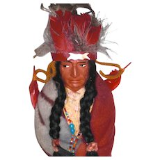 SKOOKUM Native American Chief with Feathered Headdress: Leather Moccasins with Label