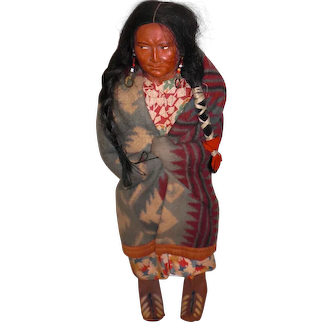 SKOOKUM Woman WITH EARRINGS; Mary McAboy Glass Bead Necklace & Earrings; Human Hair Wig with Leather Moccasins