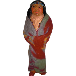 OOAK M.F. WOODS Hand Made Portrait Doll: Native American Indian With Mohair Wig and Beaded Headband