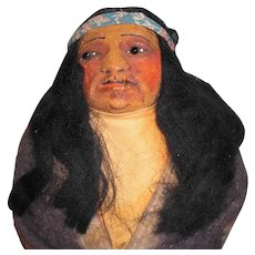 OOAK M.F. WOODS SMOKING a CIGARETTE; Portrait Doll Native American Indian; Mohair Wig