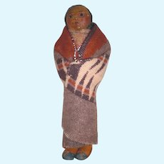 OOAK M.F. WOODS Late 1920's Hand Made Portrait Doll: Native American Indian; Base with Wood Feet and Necklace