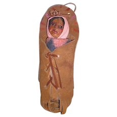 OOAK M.F. WOODS Portrait Doll Late 1920's: Native American Indian; Papoose in Leather Cradle