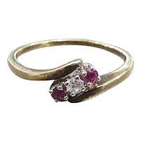 Vintage Diamond & Rubies 14ct Gold Trilogy Ring 7pt Diamond - size 9.25