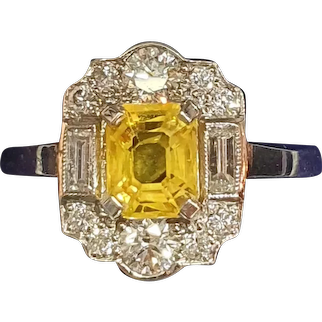 Art Deco Platinum Yellow Sapphire & Baguette Diamond 1930s Ring - size 6.9
