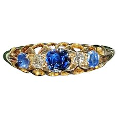 Edwardian Old Mine Cushion Cut 0.33ct Central Sapphire & Old European Cut Diamond & Sapphire 5 Stone 18ct Gold Ring - size 7.6 US
