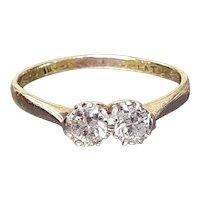 """Antique 18ct Gold & Platinum Set """"Toi et Moi"""" Duo 0.5ct Diamond Ring - size 6"""