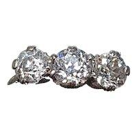 Victorian 1.5ct Old Cut Diamond & Platinum Trilogy Ring - Size 6.7