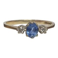 Vintage Bright Blue Oval Ceylon Sapphire & Diamonds 9ct Trilogy Ring - Size 6.9 US