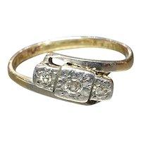 Art Deco Diamond Trilogy Wishbone Ring 18ct Platinum - Size 6.25 US