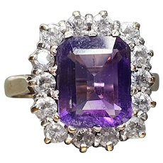 Vintage 2ct Amethyst & Cubic Zirconia Halo Statement Ring 9ct Gold - Size 7.25