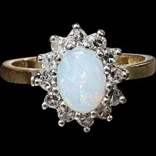 Vintage Fiery Opal & Diamond Halo on 18ct Gold Band - size US 5.5, UK K1/2