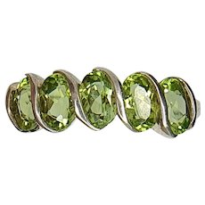Vintage Silver Five Stone Oval Cut Peridot Ring - size 8.25 US