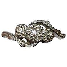 Art Deco Platinum Set Diamond Trilogy Swirl Ring 18ct Gold - Size 5.25 US