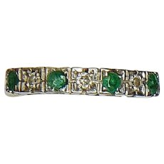 Vintage Emerald & Diamond 9ct Gold Half Eternity Ring - Size 7.5 US