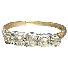 Vintage Five-Stone Diamonds Platinum Set on 18ct Yellow Gold Ring - size 7.25US