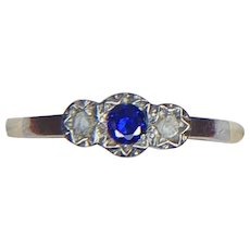Art Deco Sapphire & Old Cut Diamond Platinum Set 9ct Gold Ring- Size 6.25 US