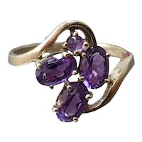 Vintage 9ct Gold & Amethyst Swirl Ring- Size 7.75 US